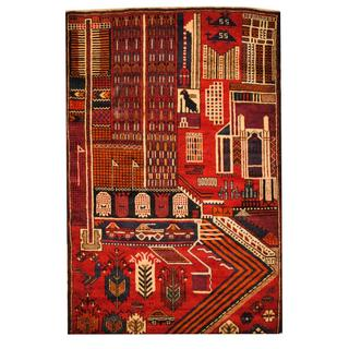 Herat Oriental Semi-antique Afghan Hand-knotted Tribal Balouchi Red/ Ivory Wool Rug (3'4 x 5')