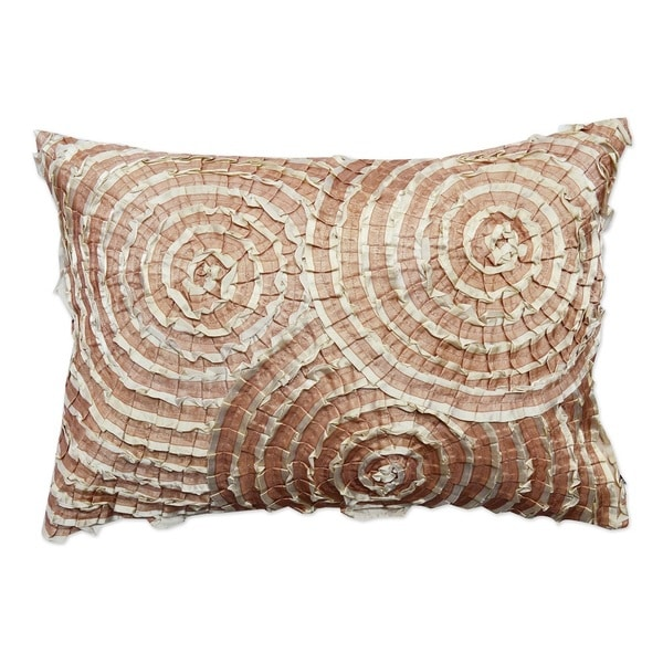 Cream Spiral Cotton 14x20-inch Throw Pillow