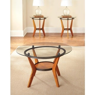 Sutton Glass/ Wood 3-piece Occassional Table Set