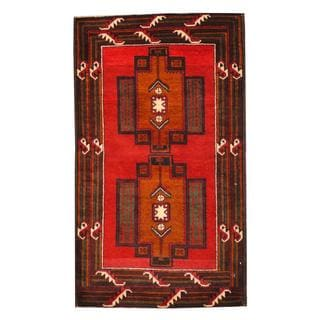 Herat Oriental Semi-antique Afghan Hand-knotted Tribal Balouchi Red/ Brown Wool Rug (2'9 x 4'9)