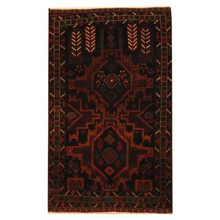 Herat Oriental Semi-antique Afghan Hand-knotted Tribal Balouchi Navy/ Ivory Wool Rug (2'8 x 4'6)