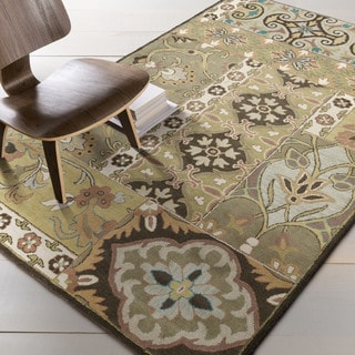 Hand-tufted Rocco Green/Taupe Wool Rug (7'6 x 9'6)