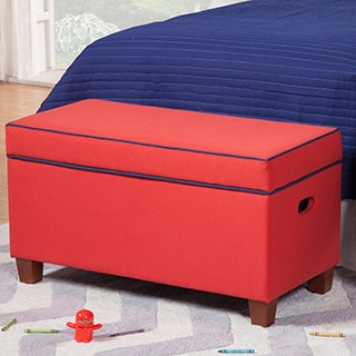 Upholstered Red Storage Bench