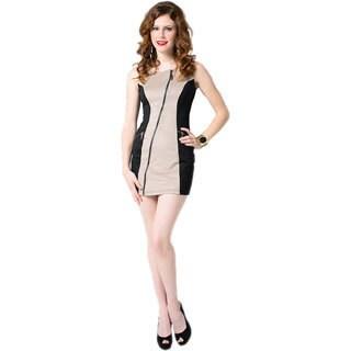 Sara Boo Women's Black and Taupe Colorblocked Mini Dress