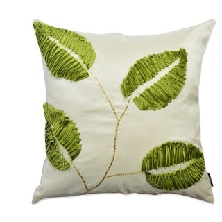 Green/ White 3D Leaf Throw Pillow