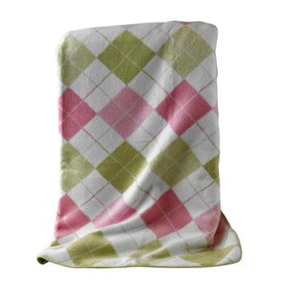 Argyle Pink and Green Throw