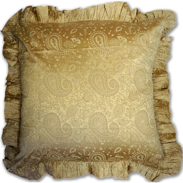 Paisley Gold Silk Euro Sham