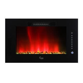 Caesar Luxury Linear Wall Mount Recess Freestanding 30-inch Electric Fireplace with Multicolor Flame