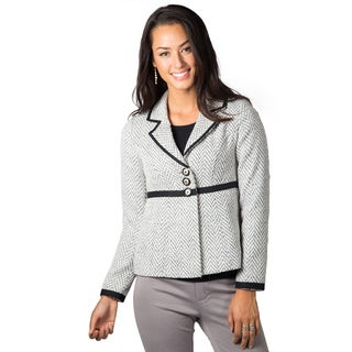DownEast Basic's Women's White Modern Twill Blazer