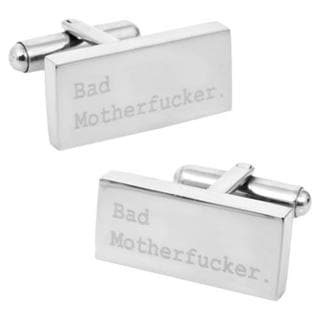 Men's Cufflinks Inc Engraved Bad Mother F'er Cufflinks Silver