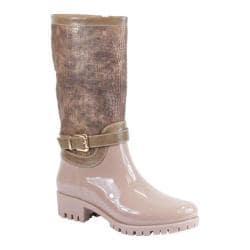 Women's Reneeze Rain-02 Glossy Reptile Rain Boot Beige PU