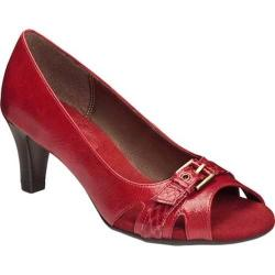 Women's A2 by Aerosoles Brain Power Peep Toe Pump Red Combo Faux Leather