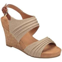 Women's A2 by Aerosoles May Plush Wedge Sandal Tan Combo Fabric