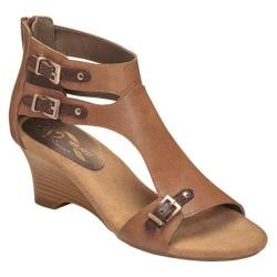 Women's A2 by Aerosoles Zenfandel Wedge Sandal Tan Combo Faux Leather