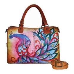Women's ANNA by Anuschka Hand Painted Large Satchel 8067 Royal Peacock