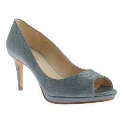 Women's Nine West Gelabelle Open Toe Pump Blue Leather