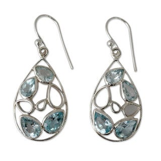 Handcrafted Sterling Silver 'Sky Blue Tears' Topaz Earrings (India)