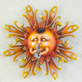 Handcrafted Iron 'Mr Sun Saxophonist' Wall Art (Mexico)