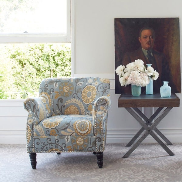 Angelohome carissa upholstered autumn grey floral arm chair