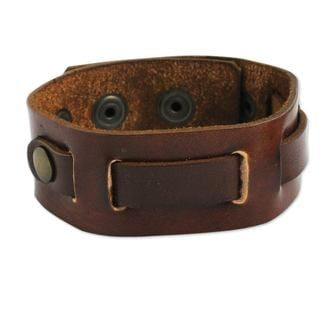 Handcrafted Men's 'Journey' Leather Wristband (Thailand)