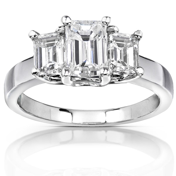 Annello 14k White Gold 2 3 4ct Emerald cut Moissanite Three stone Engagement