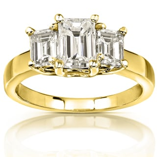 Annello 14k Yellow Gold 2 3/4ct CTW Emerald-cut Moissanite Three-stone Engagement Ring