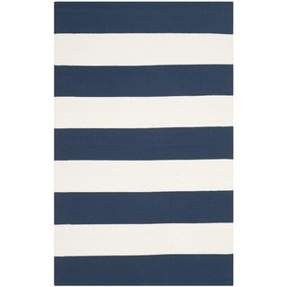 Safavieh Hand-woven Montauk Navy/ Ivory Cotton Rug (2'6 x 4')