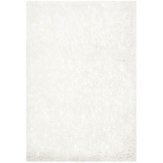 Safavieh Handmade South Beach Shag Snow White Polyester Rug (2'3 x 4')