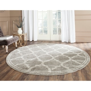 Safavieh Indoor/ Outdoor Amherst Grey/ Light Grey Rug (7' Round)