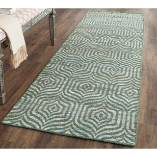 Safavieh Hand-Woven Straw Patch Blue/ Multi Wool/ Cotton Rug (2'3 x 8')