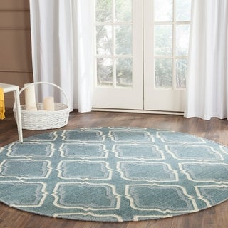 Safavieh Hand-woven Dhurries Blue/ Ivory Wool Rug (6' Round)