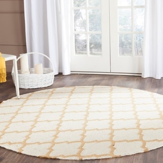 Safavieh Hand-woven Dhurries Ivory/ Gold Wool Rug (6' Round)