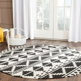 Safavieh Hand-woven Dhurries Navy/ Ivory Wool Rug (6' Round)