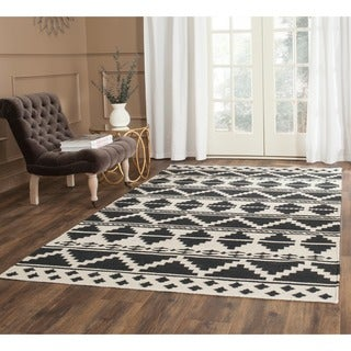 Safavieh Hand-woven Dhurries Navy/ Ivory Wool Rug (8' x 10')