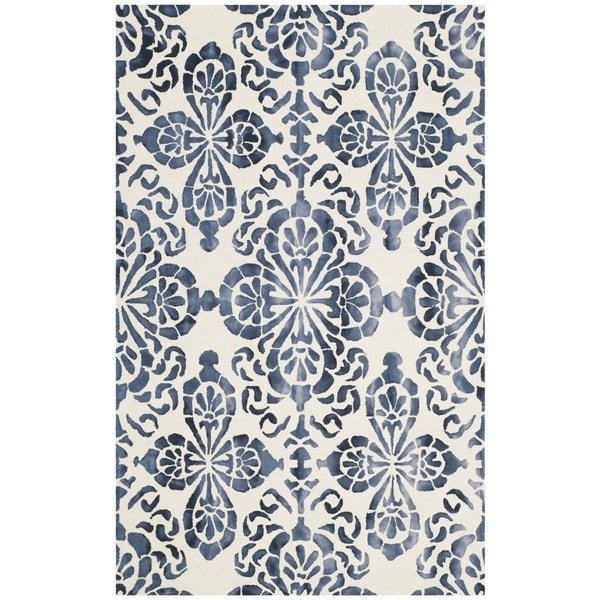 Safavieh Handmade Dip Dye Ivory/ Navy Wool Rug (8' x 10')
