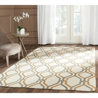 Safavieh Hand-woven Dhurries Ivory/ Blue Wool Rug (8' x 10')