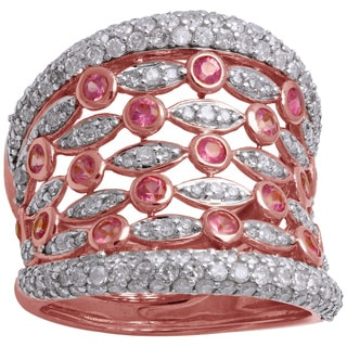 Beverly Hills Charm 14k Rose Gold 1.4ct. TDW Diamonds and Pink Sapphire Multi-Row Ring (H-I, I2-I3)