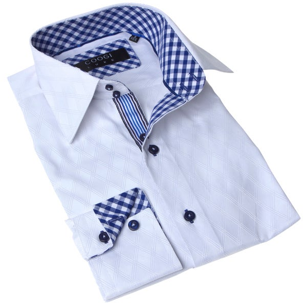 Coogi Luxe Men's White and Blue Gingham-plaid Trim Dress Shirt