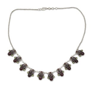 Sterling Silver 'Delhi Dynasty' Multi-gemstone Necklace (India)