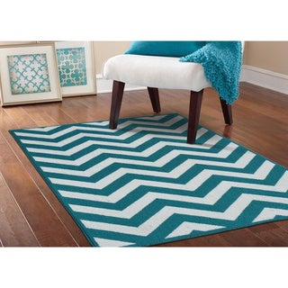 Somette Zigzag Teal/ White Area Rug (5' x 7')