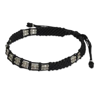 Handcrafted Silver 'Affinity In Black' Beaded Cord Bracelet (Thailand)