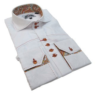 Bogosse Men's White Button-down Shirt with Paisley Trim