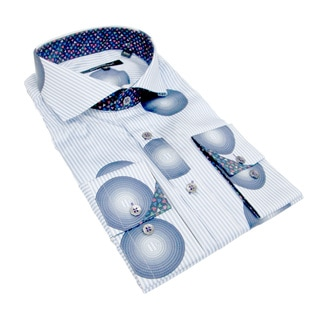 Bogosse Men's Blue Print and Striped Button-down Shirt