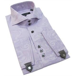 Bogosse Men's Lavender Paisley Button-down Shirt