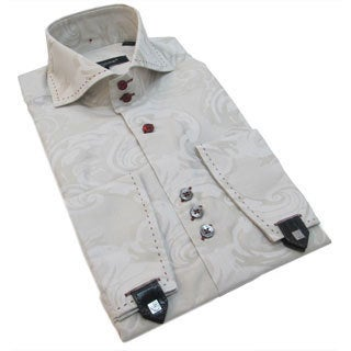 Bogosse Men's Beige Paisley Button-down Shirt with French Cuffs