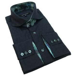 Bogosse Men's Navy Embossed Woven Button-down Shirt