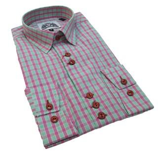 Bogosse Men's Pink Plaid Button-down Shirt