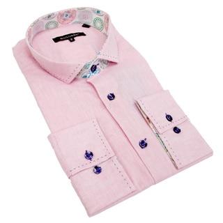 Bogosse Men's Light Pink Solid Button-down Shirt