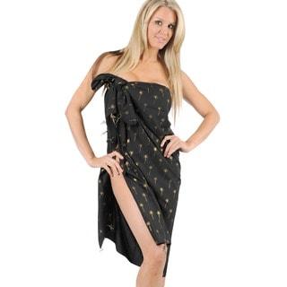 La Leela Black Foil Gold Latest Design Swimwear Hawaiian Sarong Cover Up