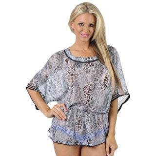La Leela Grey Short Beach Cover-up Wrap Pareo Kaftan